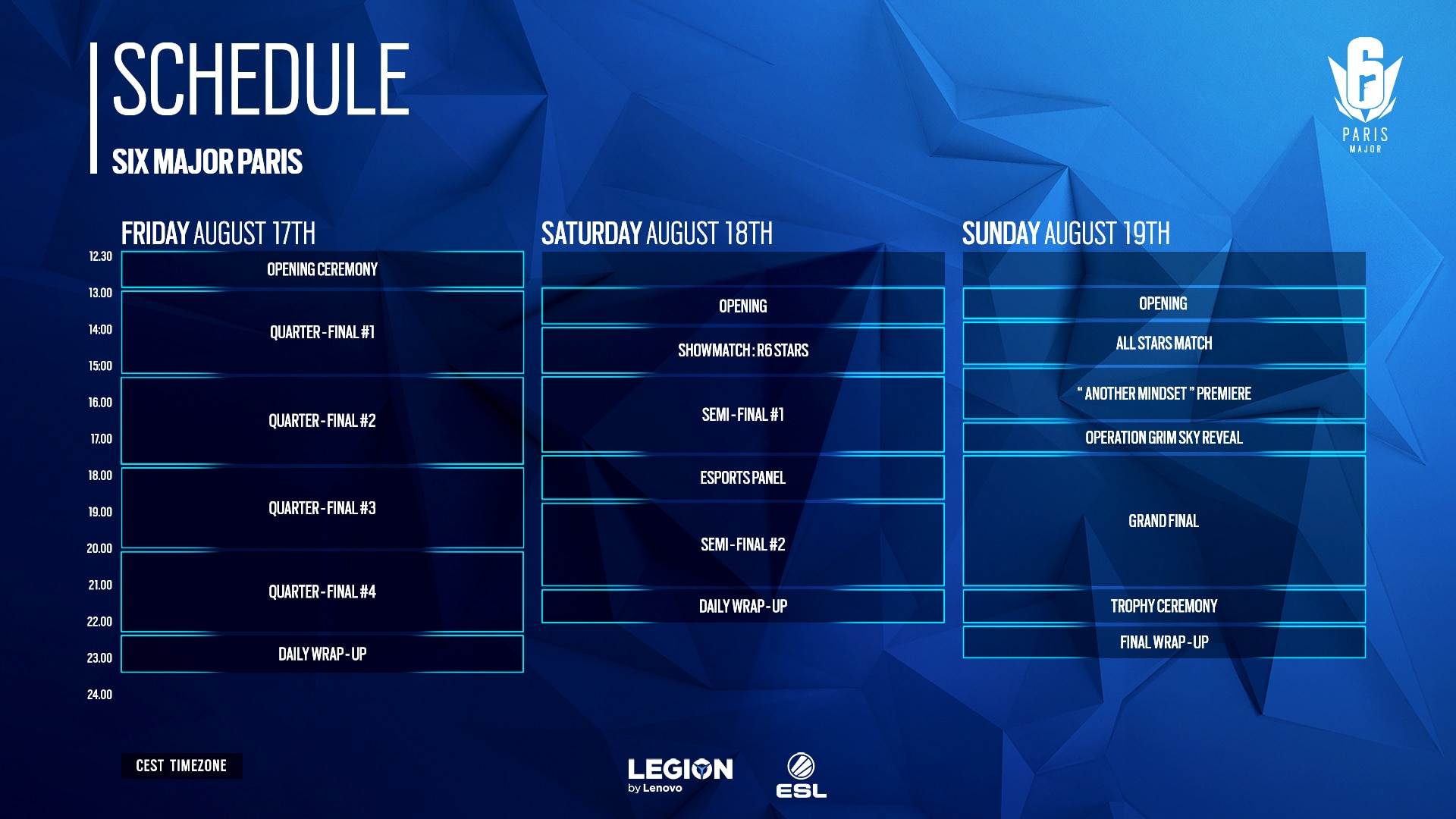 [2018-08-08] Six Major Paris Schedule