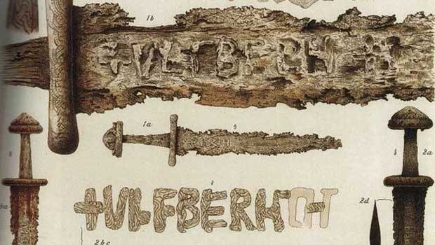 Drawings of Ulfberht swords found in Norway