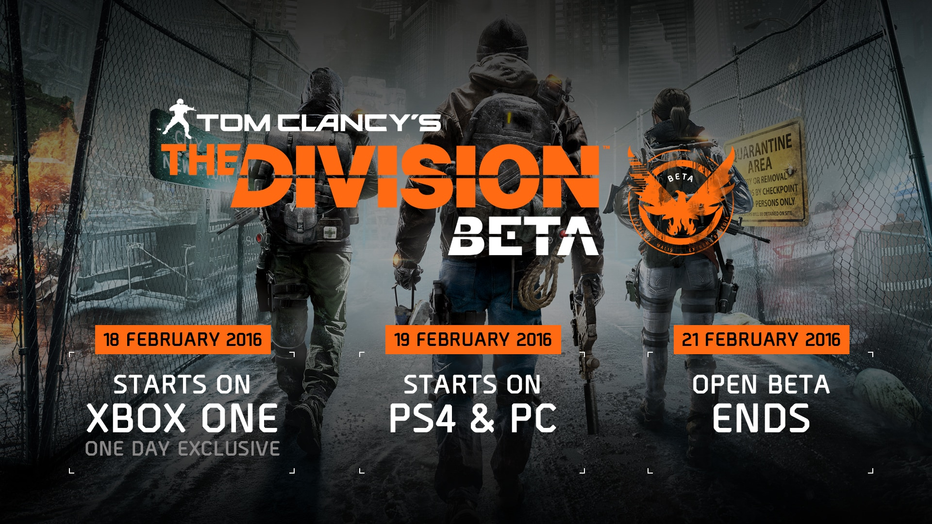 The Division \u2013 Open Beta February 19th-21st | Latest news and ...