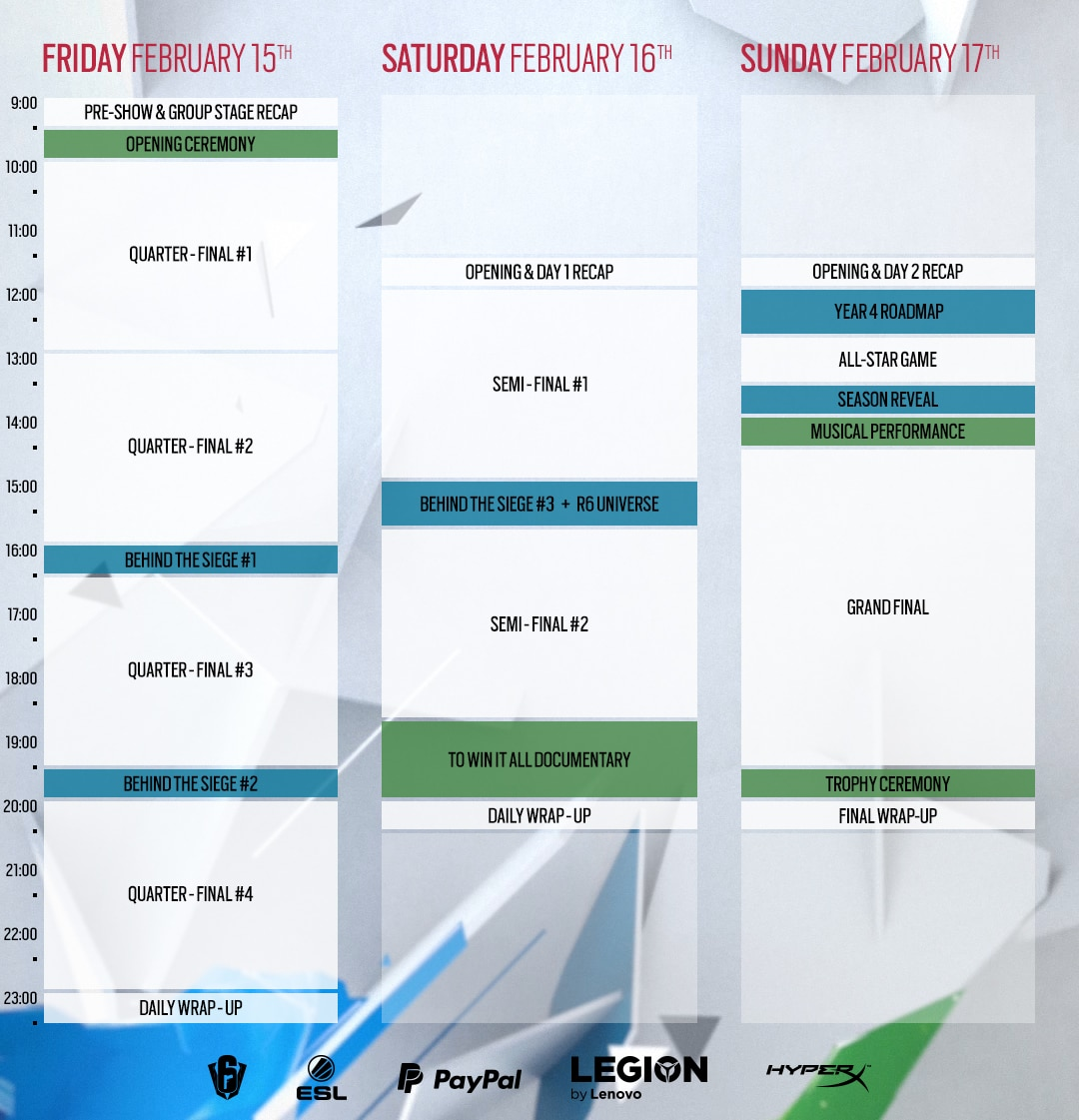 [2019-01-28] SI Weekend Schedule
