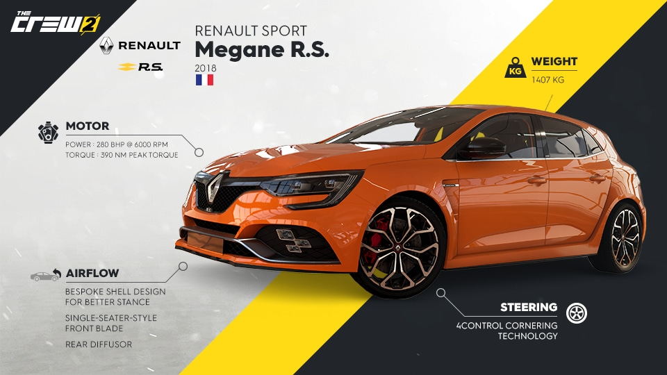 rule the streets with the renault megane r s 2018 in the crew 2 the crew 2 ubisoft. Black Bedroom Furniture Sets. Home Design Ideas