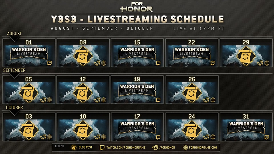 Livestreaming schedule
