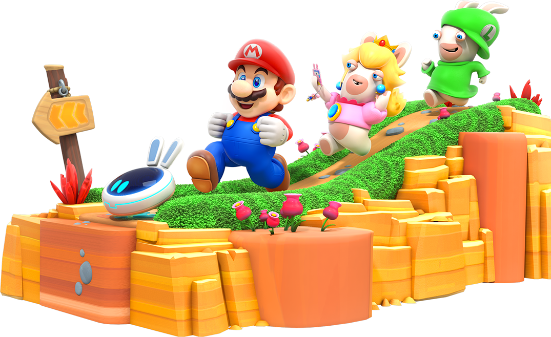 Mario, Rabbid Peach and Rabbid Luigi