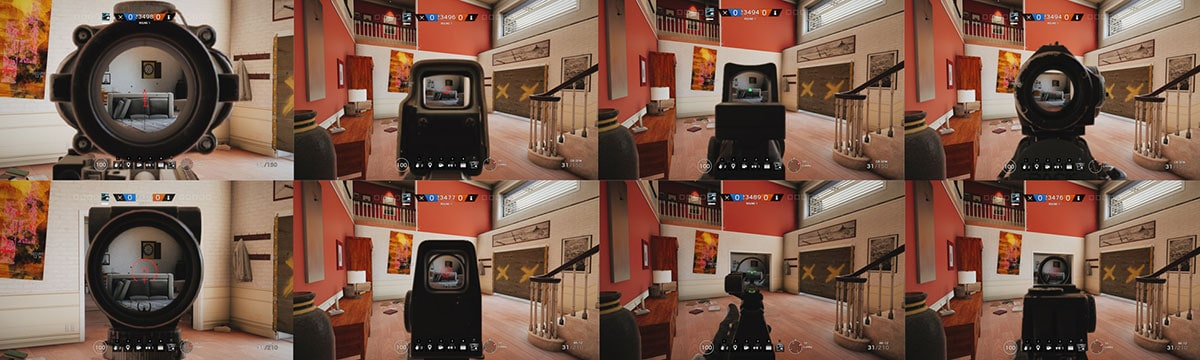 Sights positions in first person camera